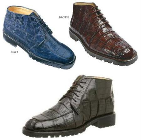 SKU# Belvedere Mens Ugo boot Genuine Crocodile Upper five eyelet lace up closure rounded toe $455