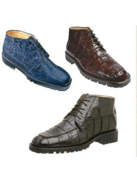 SKU# Belvedere Mens Ugo boot Genuine Crocodile Upper five eyelet lace up closure rounded toe $445