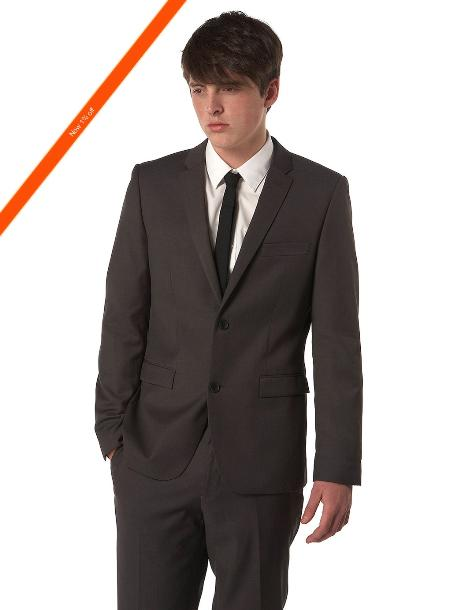 SKU#NV2932 Mens Ultra Slim Cut Black Suit in 2-Button Style