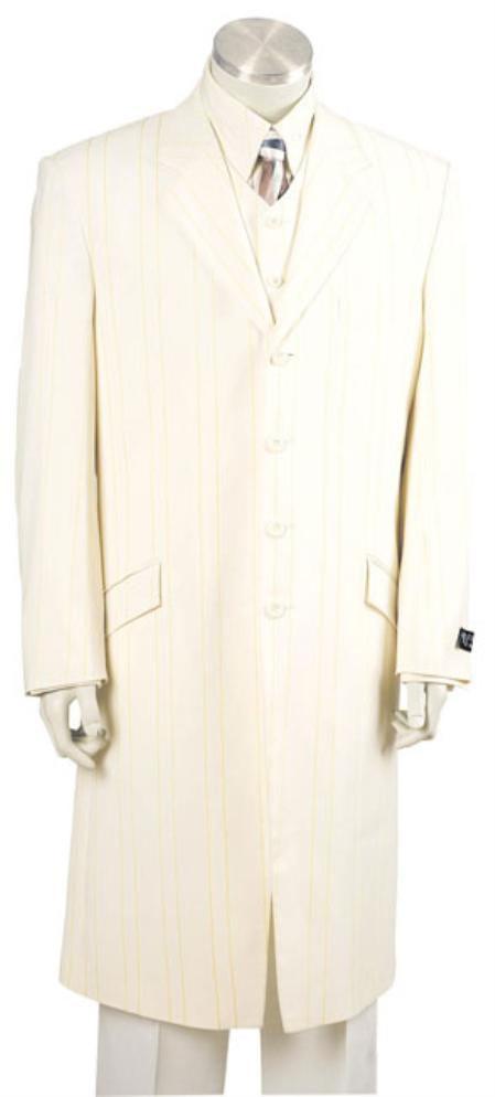 SKU#KL1456 Mens Urban Styled Suit with Full Length Jacket Ivory 45 Long Jacket EXTRA LONG JACKET Maxi Very Long $179