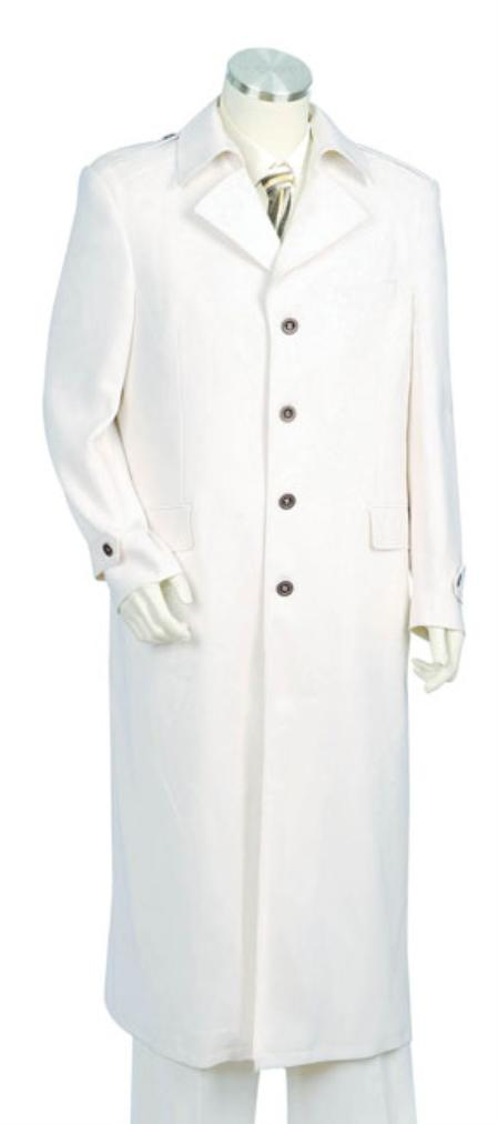 SKU#TR1456 Mens Urban Styled Suit with Full Length Jacket Off White