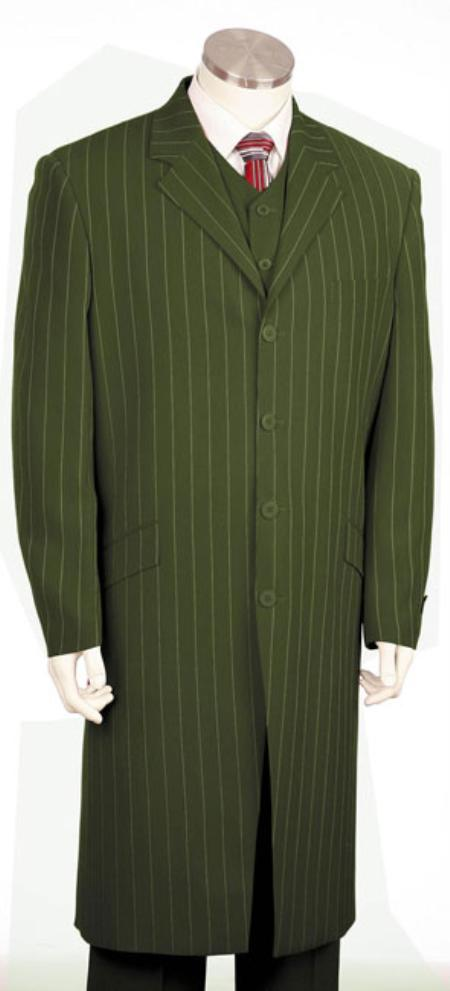 SKU#FR1456 Mens Urban Styled Suit with Full Length Jacket Olive $225