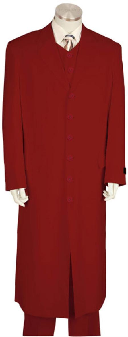 SKU#HJ9856 Mens Urban Styled Suit with Full Length Jacket Red $179