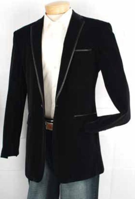 SKU#NF8290 Mens Velvet 1 Button Sport Coat Black $500