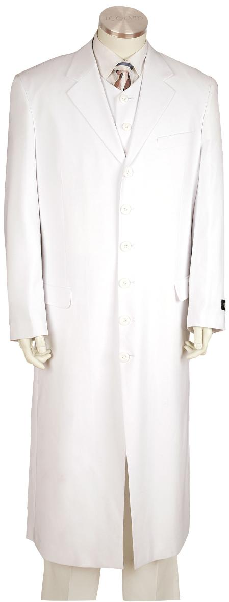 SKU#LU8171 Mens White 3 Piece Fashion Zoot Suit White $225