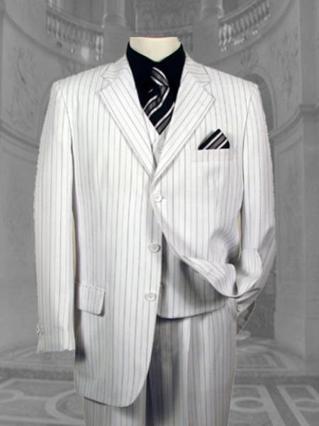 SKU#SE56 Mens White & Black Pinstripe 3 Button Vested Seersucker Suits $279