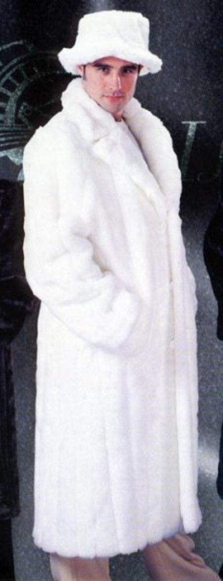 MensUSA Mens White Faux Mink Fur Long Trench Coat at Sears.com
