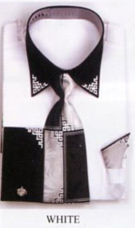 SKU#GB4322 Mens White French Cuff Shirts with Cuff Links $499