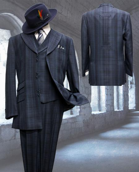 SKU#CM8293 Midnight with Pattern 3pc Fashion Zoot Suit $250