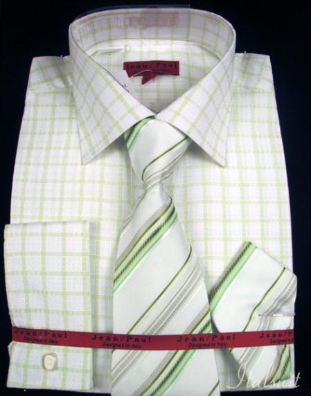 SKU#AZ7921 Mint Shirt Tie and Hankie Set $65