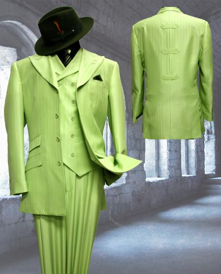 SKU#EM8390 Mint Tone on Tone 3pc Fashion Zoot Suit $250