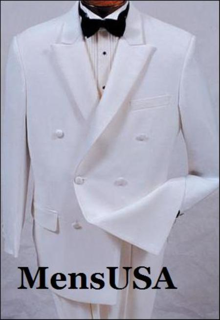 SKU# EXH311 ModelTT32 New Mens white double breasted satin peak lapel formal tuxedo $129