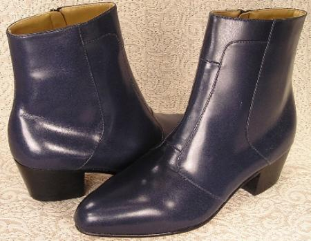 "SKU#2019 Navy Blue 6-1/2"" high demi-boot in Spanish kid skin with inside zipper and Cuban heel $99"
