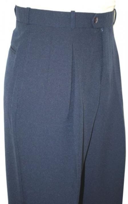 SKU#WE1393 Navy Blue Wide Leg Slacks Pleated baggy dress trousers