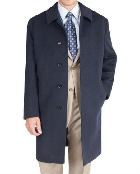 SKU#AT3532 Navy Long Wool Jacket $175