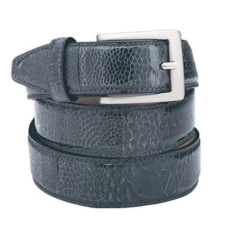 SKU#Nb7292 Navy Ostrich Leg Belt $119