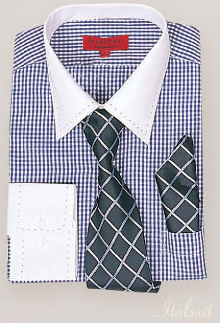 SKU#QL1002 Navy Shirt Tie and Hankie Set $65
