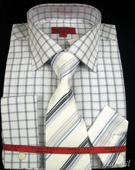 SKU#WQ9111 Navy Shirt Tie and Hankie Set $65