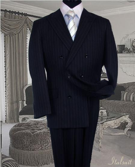SKU#PS2111 Navy Suit With Smooth Stripe Full Canvanced Poly~Rayon Wool Feel Pleated Pants $289