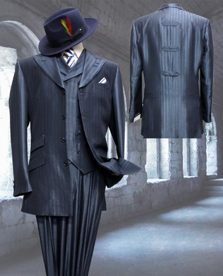 SKU#MN3022 Navy Tone on Tone 3pc Fashion Zoot Suit $250