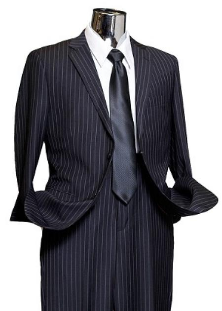 1940s Mens Suits | Gangster, Mobster, Zoot Suits 2 Button Navy Wide Pinstripe Suit Mens $189.00 AT vintagedancer.com
