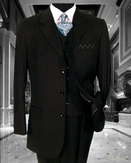 SKU#XP2838 Nice 3PC 3 Button Black Pinstripe Vested Mens Suit With Flat Front Pants $285