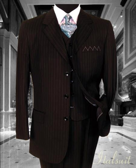SKU#IJ6798 Nice 3PC 3 Button Brown Pinstripe Vested Mens Suit With Flat Front Pants $199