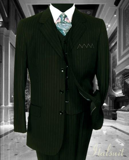 SKU#GL8088 Nice 3PC 3 Button Olive Pinstripe Vested Mens Suit With Flat Front Pants $199
