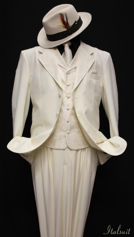 SKU#AM9434 Off-white 3pc Fashion Zoot Suit $210