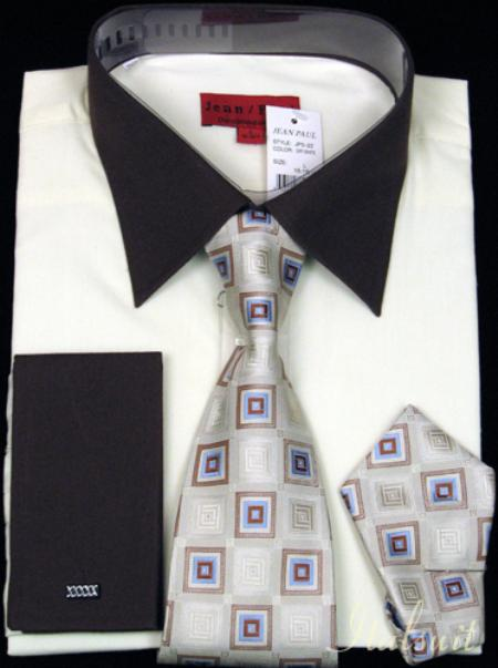 SKU#BS4343 Off White Shirt Tie and Hankie Set $65