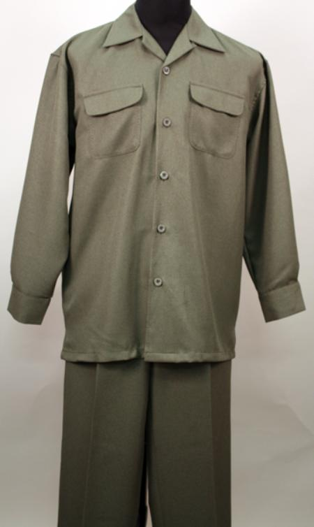 SKU#SB2011 Olive 2 Pc Long Sleeve Shirt and Pants Set $115