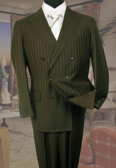 SKU#XQ2177 Olive Double Breasted Mens Suit with Smooth Stripe $179
