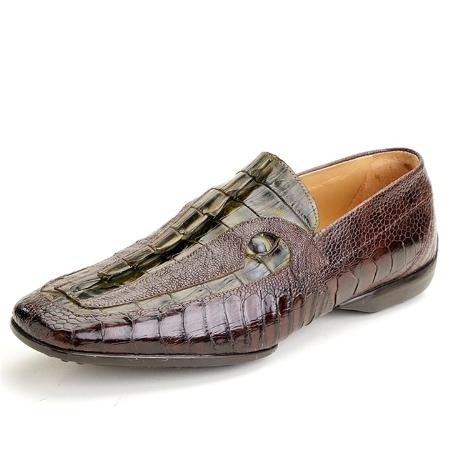 SKU#DM9928 Olive Genuine Crocodile, Ostrich $555