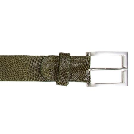 SKU#FK9762 Olive Genuine Lizard Belt $179