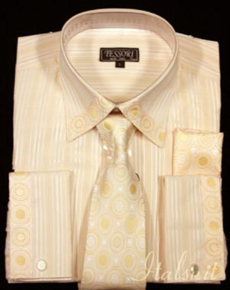 SKU#MZ1929 Orange Shirt Tie and Hankie Set $65