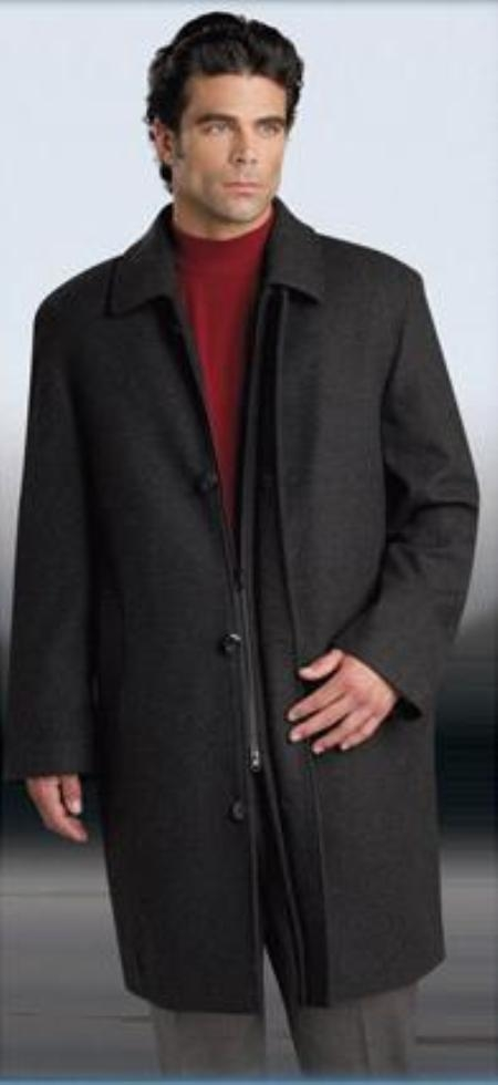 "SKU#Car coat 35"" Charcoal Gray four button fly front coat with set-in sleeves Wool&Cashmere"