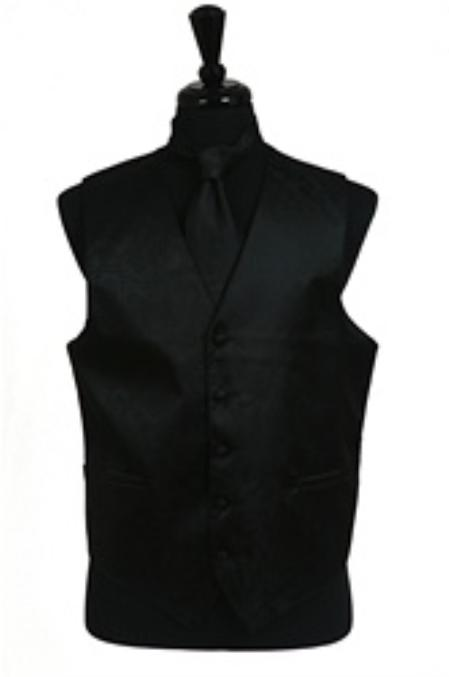 SKU#VS2789 Paisley tone on tone Vest Tie Set Black $49
