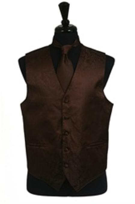 SKU#VS2781 Paisley tone on tone Vest Tie Set Brown