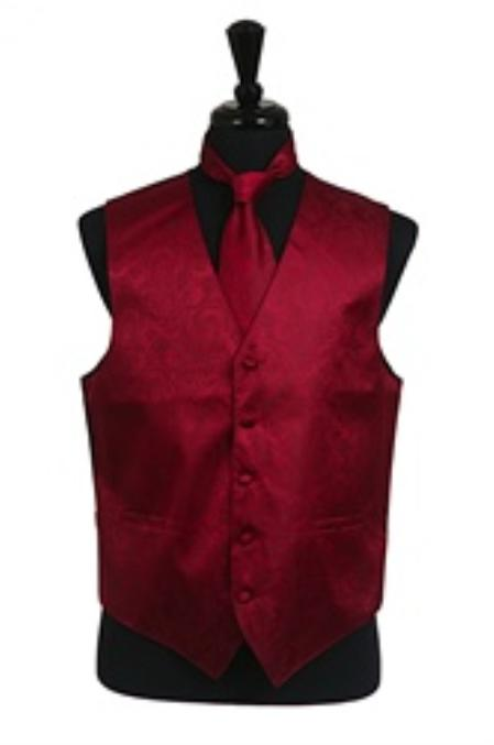 SKU#VS2782 Paisley tone on tone Vest Tie Set Burgundy ~ Maroon ~ Wine Color $39