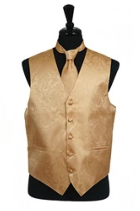 Paisley Tone On Tone Vest Tie Set Gold