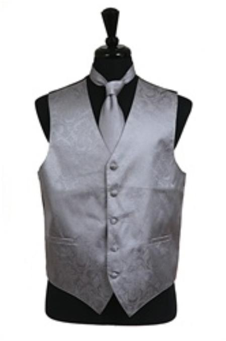 SKU#VS2784 Paisley tone on tone Vest Tie Set Grey