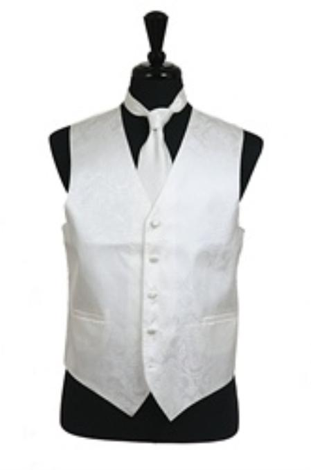 SKU#VS2788 Paisley tone on tone Vest Tie Set Ivory