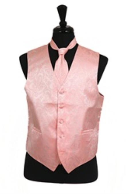 SKU#VS2783 Paisley tone on tone Vest Tie Set Peach