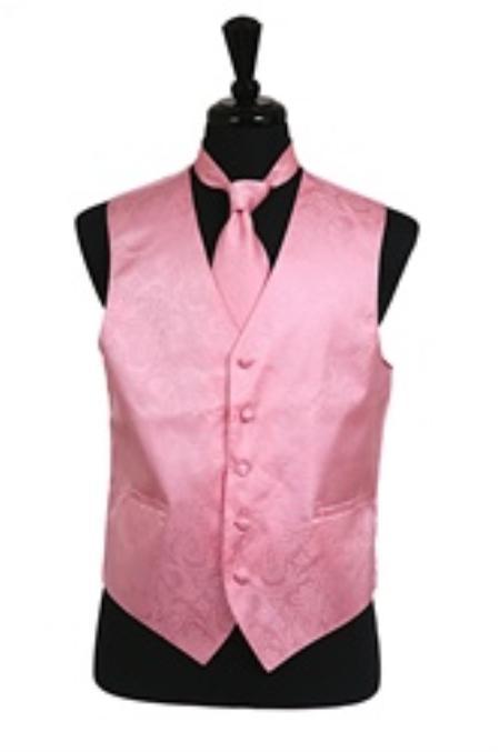 SKU#VS2780 Paisley tone on tone Vest Tie Set Pink