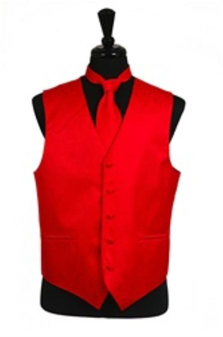 SKU#VS2783 Paisley tone on tone Vest Tie Set Red