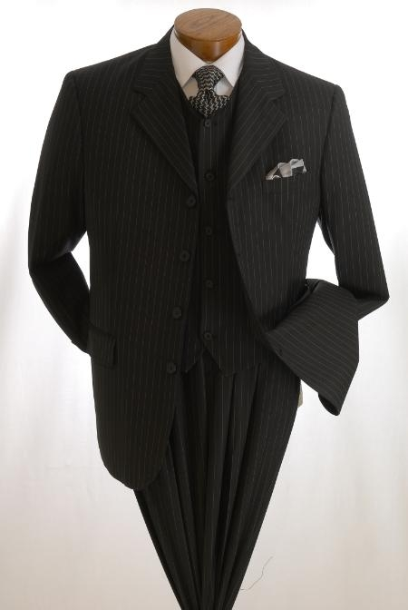 SKU#T64TRS  three piece pinstriped three piece suit 4 BUTTON SINGLE BREASTED VESTED three piece suit  $139