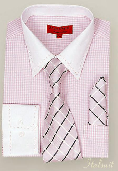 SKU#UP2990 Pink Shirt Tie and Hankie Set $65