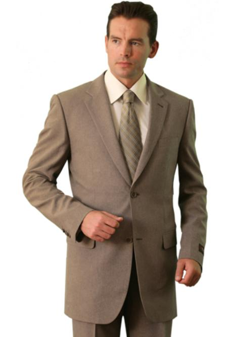 SKU#SF5388 Polyester/Wool Touch Mens Classic affordable suit online sale Tan ~ Beige