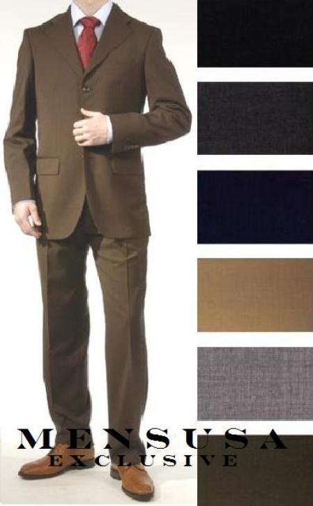 SKU# 3B1295 premier quality italian fabric Flat Front Pants 100% Wool Super 140s 3 Buttons Mens Dress Suits $175