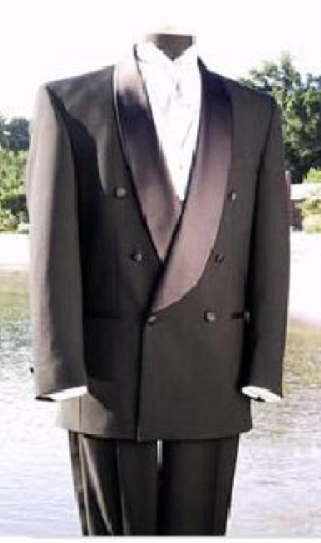 VALENTI~ $1800 Mens Shawl Collar Italian Fabric Design Satin Button Double Breasted Tuxedo Black